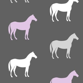 multi horses on grey - grey and purple farm collection