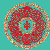 turquoise with red ornament pillow