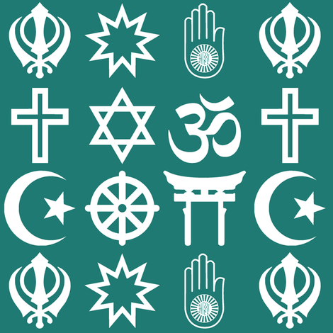 World Religions // Aqua fabric by thinlinetextiles on Spoonflower - custom fabric
