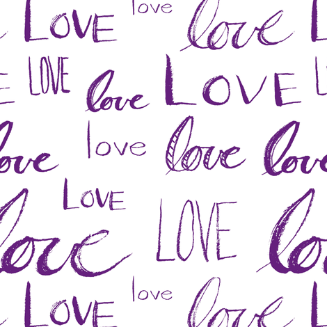 Words of Love // Blue-Violet fabric by thinlinetextiles on Spoonflower - custom fabric