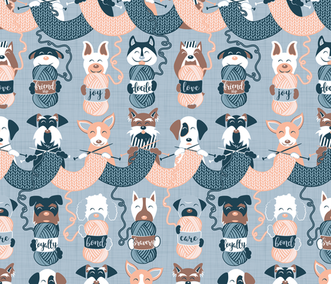 Knitting dog feelings // normal scale fabric by selmacardoso on Spoonflower - custom fabric