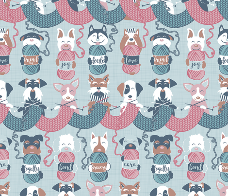 Knitting dog feelings III // normal scale fabric by selmacardoso on Spoonflower - custom fabric