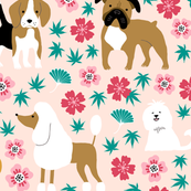 Dogs with chinese florals and leaves on blush