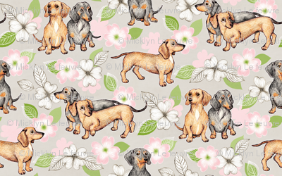 Dachshunds and dogwood blossoms - pink, large
