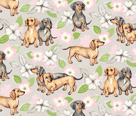 Dachshunds and dogwood blossoms - pink, large fabric by micklyn on Spoonflower - custom fabric