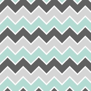 farm coordinate - traditional chevron - dark mint and grey