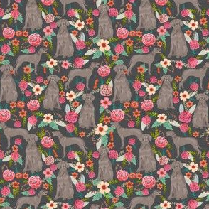 weimaraner florals (Smaller) dog fabric - floral dog design - shadow grey