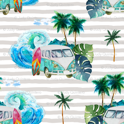 "3.5"" Summer Road Tripping Palm Leaves / Grey Stripes"