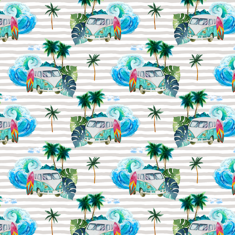 "3.5"" Summer Road Tripping Palm Leaves / Grey Stripes fabric by shopcabin on Spoonflower - custom fabric"