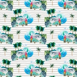 """2.5"""" Summer Road Tripping Palm Leaves / Grey stripes"""