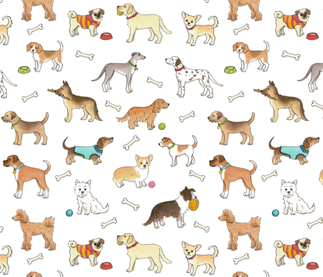 Dogs - larger scale fabric by hazelfishercreations on Spoonflower - custom fabric