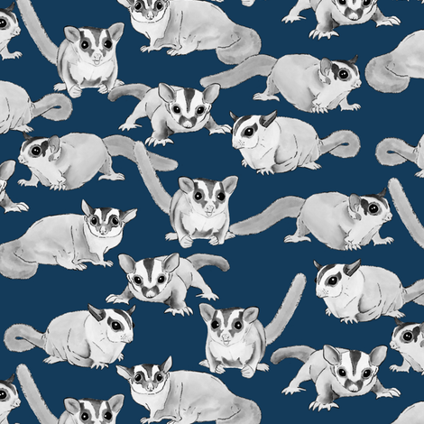 Sugar Gliders on Dark Blue fabric by landpenguin on Spoonflower - custom fabric