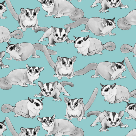 Black and White Sugar Gliders on Blue fabric by landpenguin on Spoonflower - custom fabric