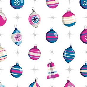 Adorn* (Blues & Pinks on White)    Christmas ornaments holiday vintage mercury glass shiny brite star stars atomic midcentury