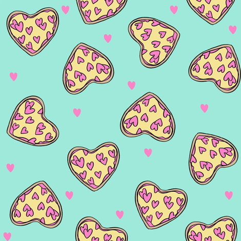 pizza heart // valentines day love pizza slices foodie fabric mint fabric by andrea_lauren on Spoonflower - custom fabric
