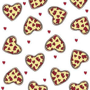 pizza heart // valentines day love pizza slices foodie fabric white red