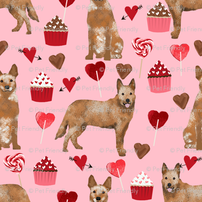 australian cattle dog red heeler valentines cupcakes hearts dog breed fabric pink