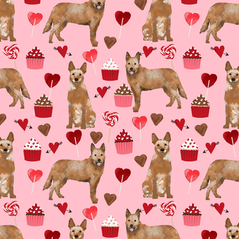 australian cattle dog red heeler valentines cupcakes hearts dog breed fabric pink  fabric by petfriendly on Spoonflower - custom fabric