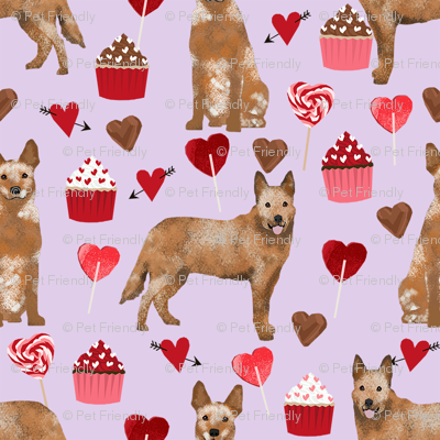 australian cattle dog red heeler valentines cupcakes hearts dog breed fabric purple