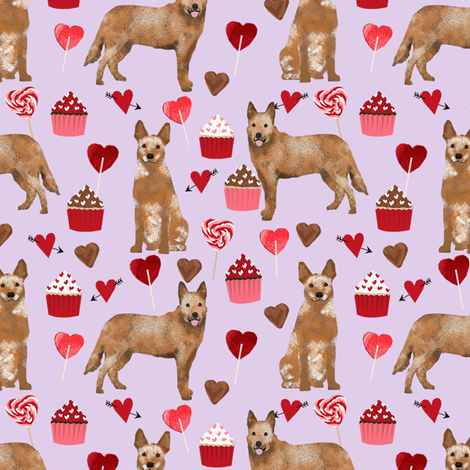 australian cattle dog red heeler valentines cupcakes hearts dog breed fabric purple fabric by petfriendly on Spoonflower - custom fabric