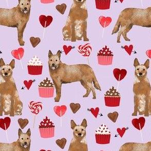 australian cattle dog red heeler valentines cupcakes hearts dog breed fabric purple
