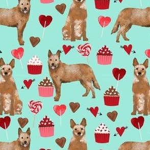 australian cattle dog red heeler valentines cupcakes hearts dog breed fabric turquoise
