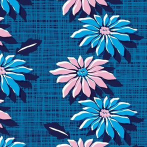 Poinsettias* (Blue & Pink Hatch) || jumbo poinsettia flower flowers floral vintage retro stripes Christmas holiday plant nature decor tradition large format scale linens tablecloth kitchen
