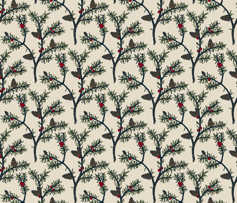 Evergreen Pinecones and Berries fabric by kellie_jayne_ on Spoonflower - custom fabric