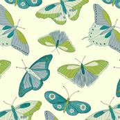 Butterflies in Blue Green