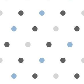 large polka dots -blue and grey