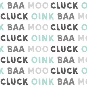 oink baa moo cluck - dark mint and grey