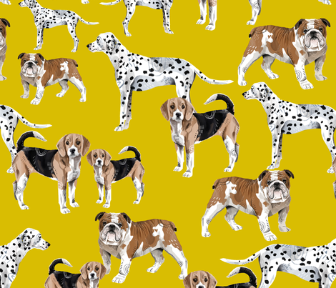 Dogs Pals on Mustard fabric by taraput on Spoonflower - custom fabric