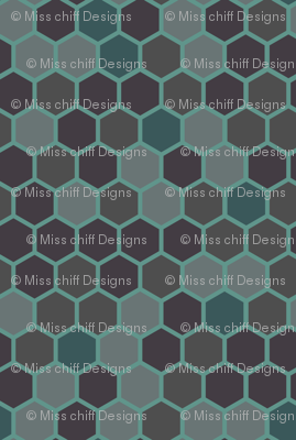 Geometric Hexagon Dots || Gray Grey Green Blue Jade Hexie  || Nautical Ocean Water _ Miss Chiff Designs