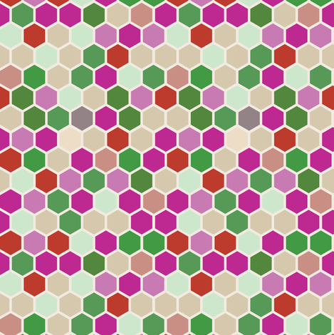 Geometric Hexagon || Hexie red pink lilac purple rose  mint green beige ||  dots spots _ Miss Chiff Designs fabric by misschiffdesigns on Spoonflower - custom fabric