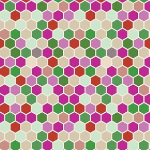 Geometric Hexagon || Hexie red pink lilac purple rose  mint green beige ||  dots spots _ Miss Chiff Designs