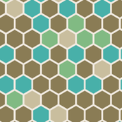 Green Tan Brown and Marine Blue Large Hexie Hexagon Honeycomb || Miss Chiff Designs