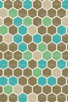 Geometric Hexagon Dots || Army Green Tan Brown Marine Blue Hexie Spots Honeycomb || Miss Chiff Designs