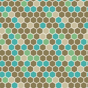 18-7AV Hexagon Dots Army Green Tan Brown Marine Blue