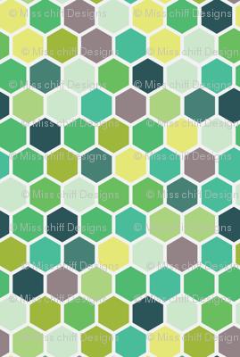 Spring Kelly Grass Mint Forrest Green Hexie Hexagon Honeycomb