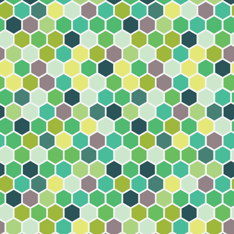 Spring Kelly Grass Mint Forrest Green Hexie Hexagon Honeycomb fabric by misschiffdesigns on Spoonflower - custom fabric
