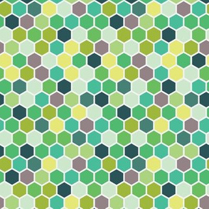 18-7AU Spring Kelly Grass Mint Forrest Green Hexie Hexagon Honeycomb