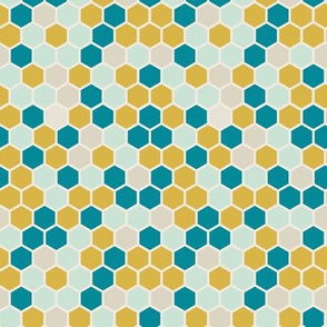 Geometric Dots Hexie Hexagon Gold Yellow Teal Mint Beige  Honeycomb _ Miss Chiff Designs