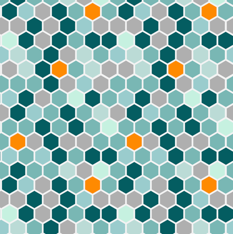 Geometric Teal Gray Grey Orange Blue Hexie Hexagon || Dots spots drops Honeycomb _ Miss Chiff Designs fabric by misschiffdesigns on Spoonflower - custom fabric