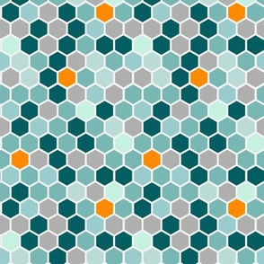 Geometric Teal Gray Grey Orange Blue Hexie Hexagon || Dots spots drops Honeycomb _ Miss Chiff Designs