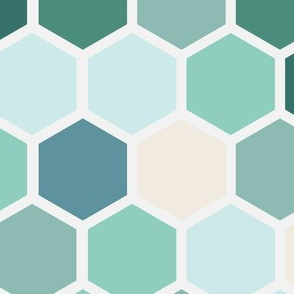 Large  Ocean Water Geometric Dots Spots Hexie Hexagon Green Cream Blue Beach || Miss Chiff Designs