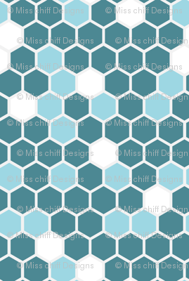18-7AQ Geometric Hexagons || Blue Teal Sky White Gray Grey || Spots dots drops Hexie