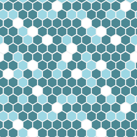 Geometric Hexagons || Blue Teal Sky White Gray Grey || Spots dots drops Hexie fabric by misschiffdesigns on Spoonflower - custom fabric