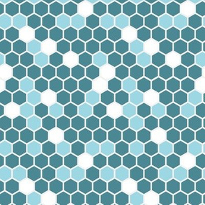 Geometric Hexagons || Blue Teal Sky White Gray || Spots dots Hexie