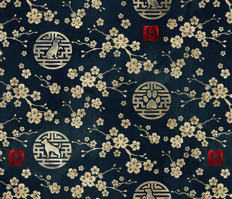 Chinese year of the dog in gold fabric by adenaj on Spoonflower - custom fabric