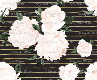 vintage blush floral S - gold stripe black